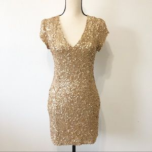 Parker | Serena gold sequin mini dress